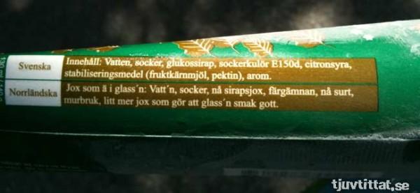 Innehållsförteckningan på norrländska