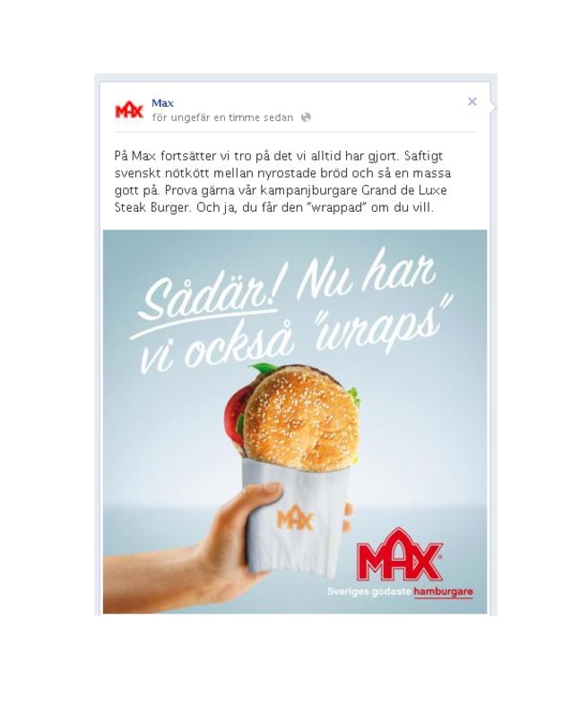 Max dissar Mcdonalds på Facebook